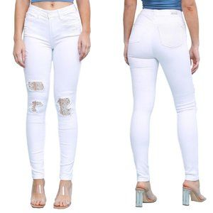 NWT Judy Blue Jeans White Lace Patch Skinny